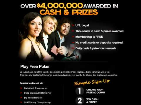 Play Free Online Poker - over $4,000,000 Awarded in Cash & Prizes