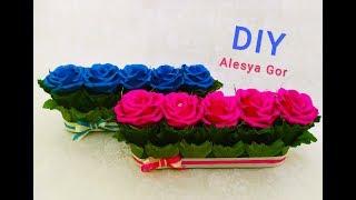DIY СИНИЕ и МАЛИНОВЫЕ  РОЗЫ. букет из конфет.ПОДАРОК своими руками.BLUE and CRANBERRY ROSES