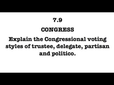 7.9 Explain the Congressional voting styles of trustee, delegate, partisan and politico.