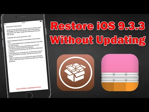 How To Restore IOS 9.3.3 To Factory Settings Without Updating (Unjailbreak)