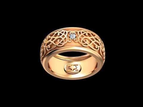 Кольцо Кружево и страсть из золота красного цвета 585 пробы с бриллиантом