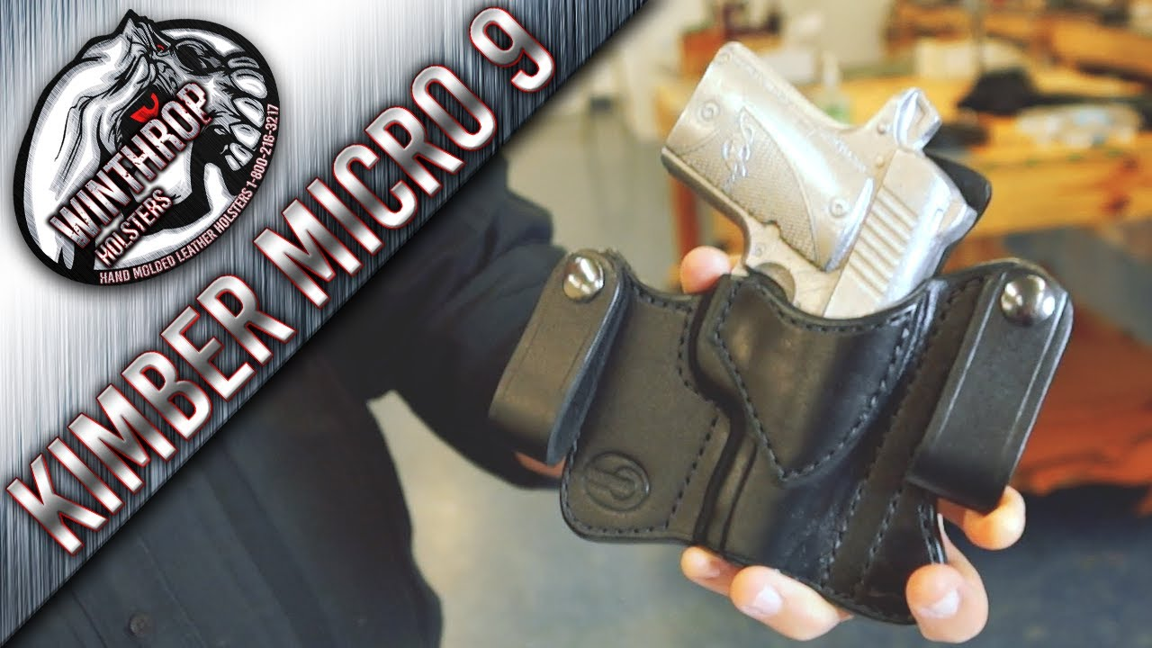 Kimber Micro 9 with Laser Grips IWB Black Leather Holster By:  WinthropHolsters com