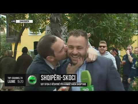 """Po raportonte direkt për ndeshjen, tifozët skocezë surprizojnë """"live"""" gazetarin e Top Channel"""