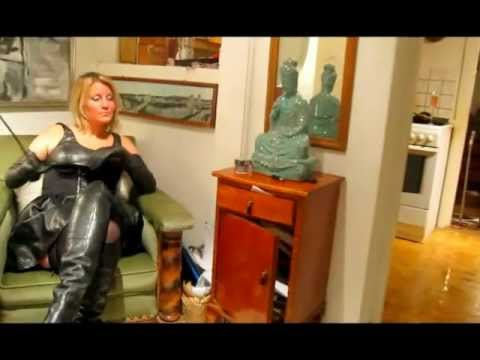Mature blonde dominatrix in leather final