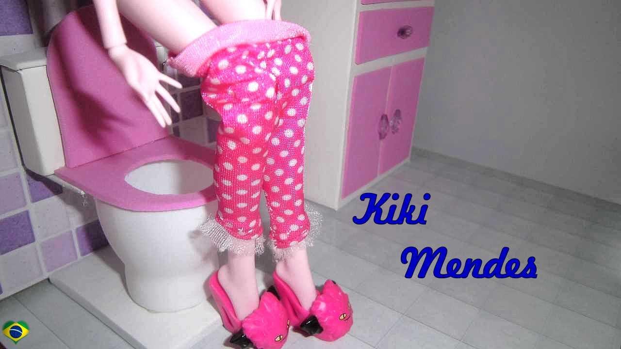 Como fazer banheiro toilet vaso sanitário para casa de bonecas  miniatura fa -> Como Fazer Pia De Banheiro De Boneca