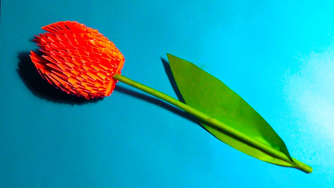 3d Origami Flower Tulip Tutorial Instruction Youtube