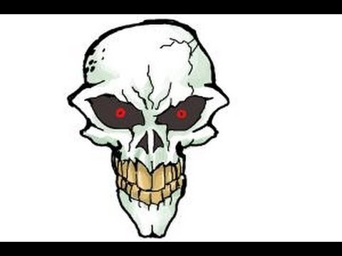 How to draw a scary skull - YouTube