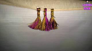 How To Make Double Color Saree Kuchu / Tassels Using Silk Thread Design - 2 | Tutorial !!