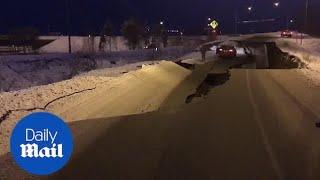 Roads collapse after massive earthquake rocks Alaska