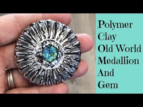 Creating An Old World Medallion Pendant With a Faux Dichroic Gemstone DIY Polymer Clay Tutorial