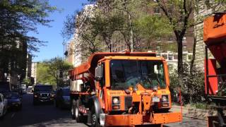 CITY OF NEW YORK DEPARTMENT OF SANITATION - DSNY SALT SPREADERS ON WEST 73RD STREET & BROADWAY.