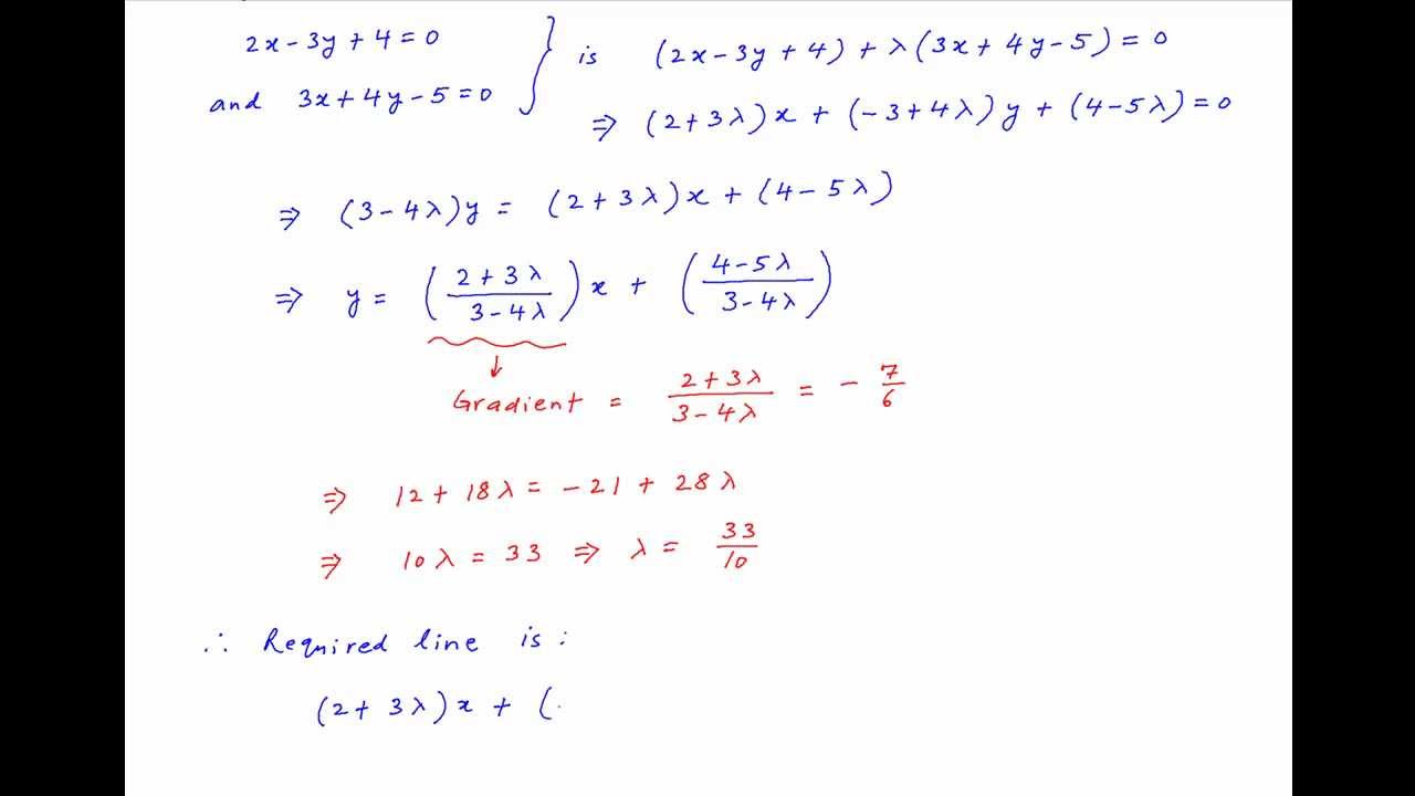 Find equation of line through intersection of 2x-3y+4=0 ...
