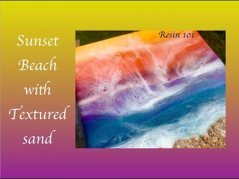 Resin Art Sunset Ocean With Textured Sand ~ Resin 101 Tips For Beginners