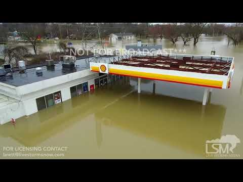2-24-2018 Louisville, KY Ohio River Flooding I-71 and Zorn Ave from drone