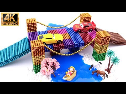 DIY - How To Make Rainbow Bridge With Magnetic Balls, Slime & Car toys (ASMR) | Magic Balls 4K