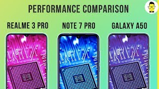 Realme 3 Pro vs Redmi Note 7 Pro vs Samsung Galaxy A50 performance, battery, and PUBG comparison