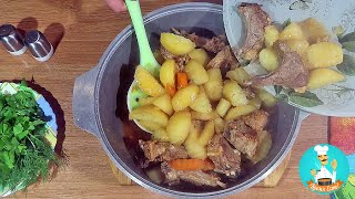 Как приготовить жаркое (мясо с картошкой) - рецепт жаренной картошки (жаркого) по-домашнему 🍴