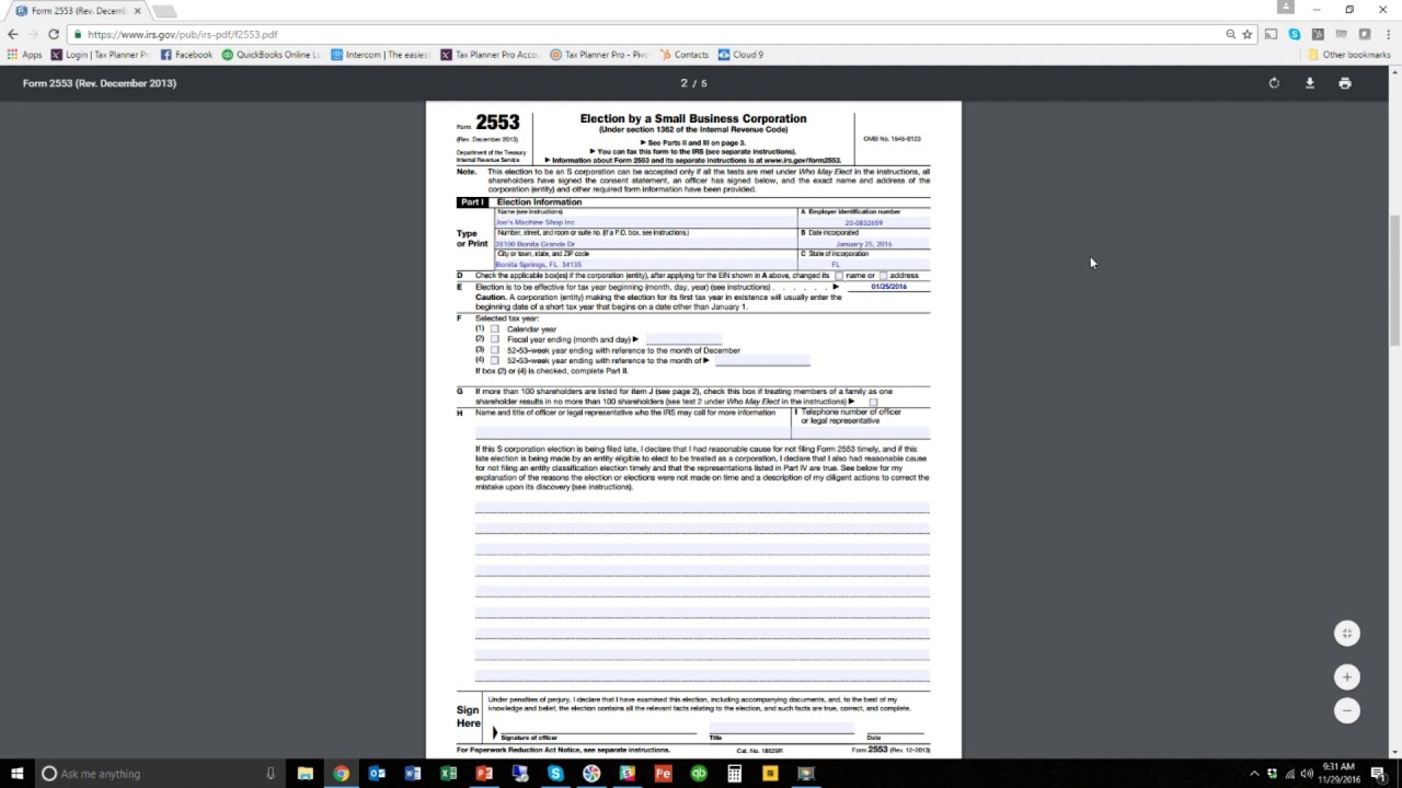 Form 2553 s corp form 2553 election tutorial