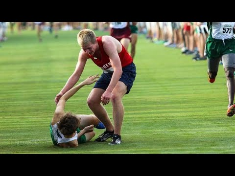 When a cross country runner collapsed, his opponent stopped to help him