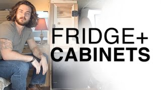 Van Dwelling: CABINET + NIGHTSTAND BUILD and refrigerator install in my Chevy Astro