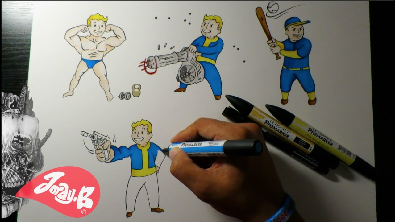Drawing Fallout 4 Vault Boy Characters Ep.1 PERKS!!! - YouTube