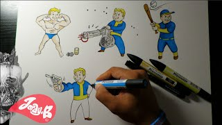 Drawing Fallout 4 Vault Boy Characters Ep.1 PERKS!!!