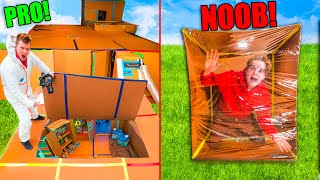24 Hour Quarantine Box Fort NOOB Vs PRO Shelter Challenge!