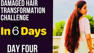 DAY 4 : 1 WEEK HAIR TRANSFORMATION CHALLENGE | Repair Your Extreme Damaged & Thin Hair in 6 Days