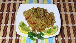 Паэлья с морепродуктами. Испанская кухня