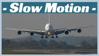 Slow motion: B747 v A380 Landing at Manchester Airport