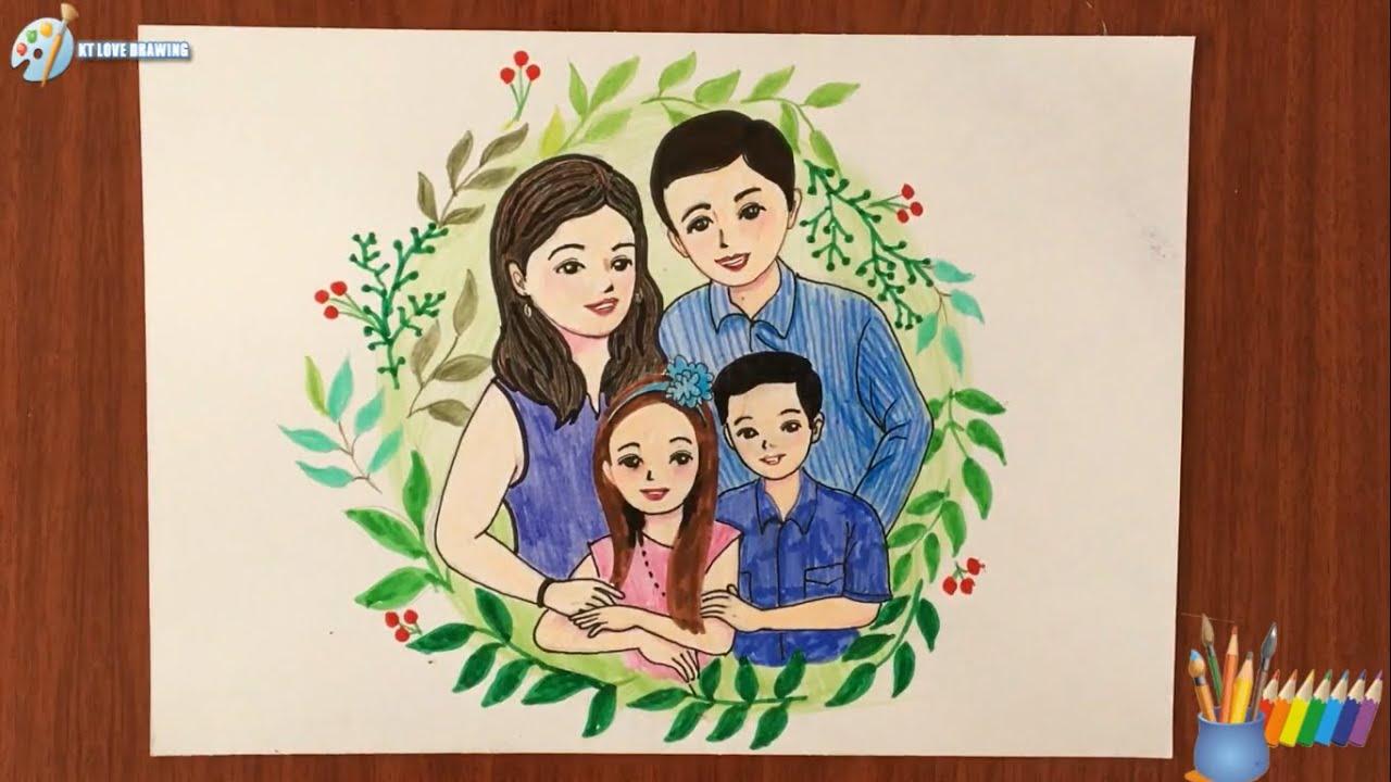 Vẽ chân dung gia đình theo phong cách chibi / Draw portrait family