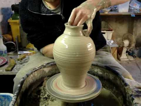 Making Throwing A Pottery Greek Roman Amphora Vase On The Wheel