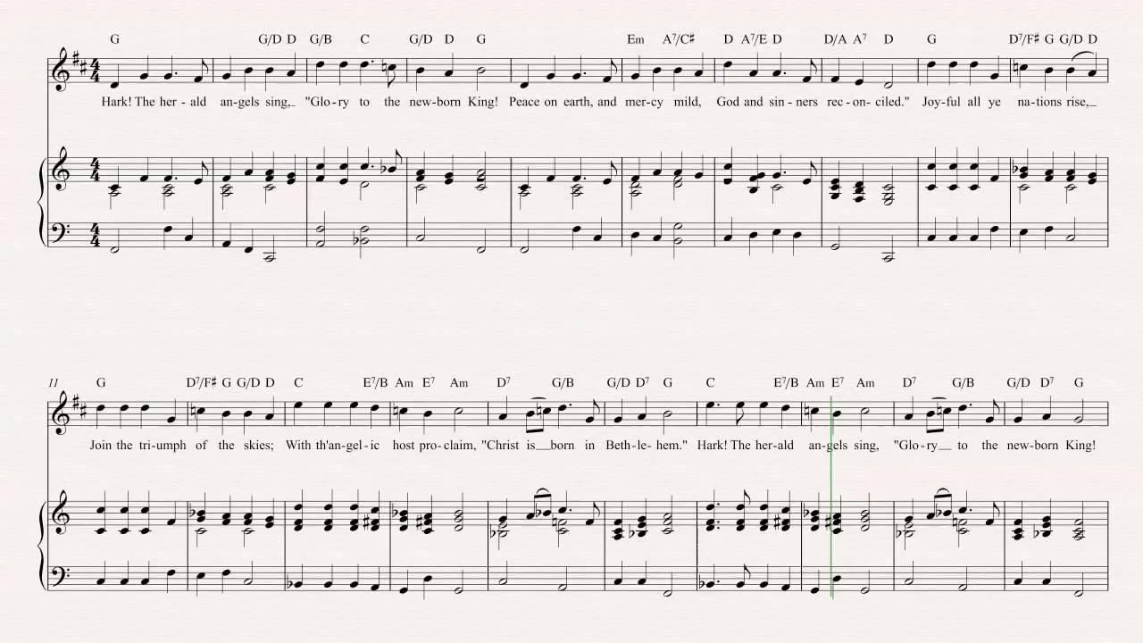 Cornet Hark The Herald Angels Sing Christmas Carol Sheet Music Chords Vocals