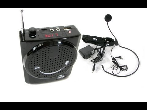 QFX CS-80US Portable Rechargeable Waistband Mini PA System W/ Headset Microphone USB SD