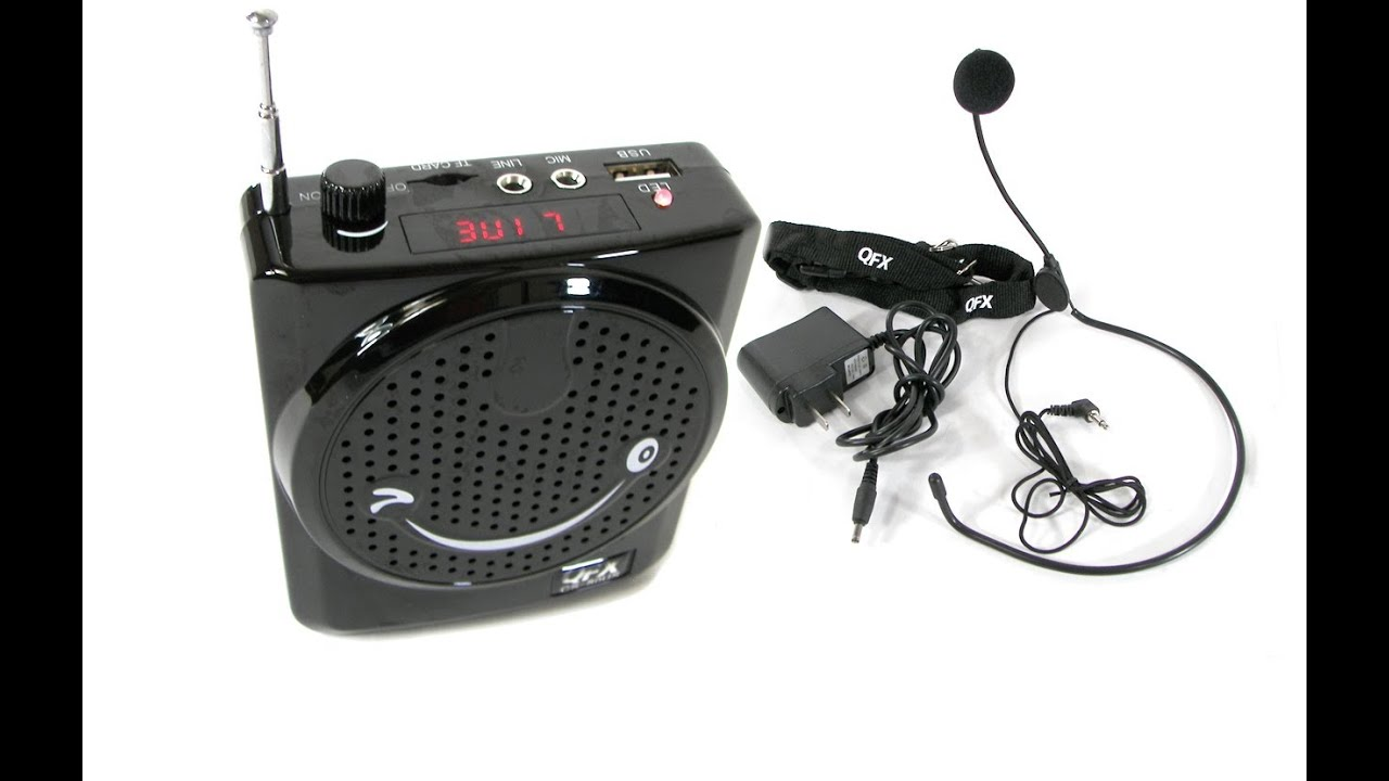 qfx cs 80us portable rechargeable waistband mini pa system w headset microphone usb sd youtube. Black Bedroom Furniture Sets. Home Design Ideas