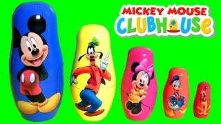 Mickey Mouse Clubhouse Stacking Cups Nesting Surprise Disney Minnie Goofy Pluto Donald Baby Toys