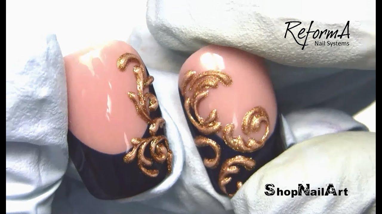 Golden Baroque Ornament - 3D Nail Art featuring ReformA Gel Paint ...