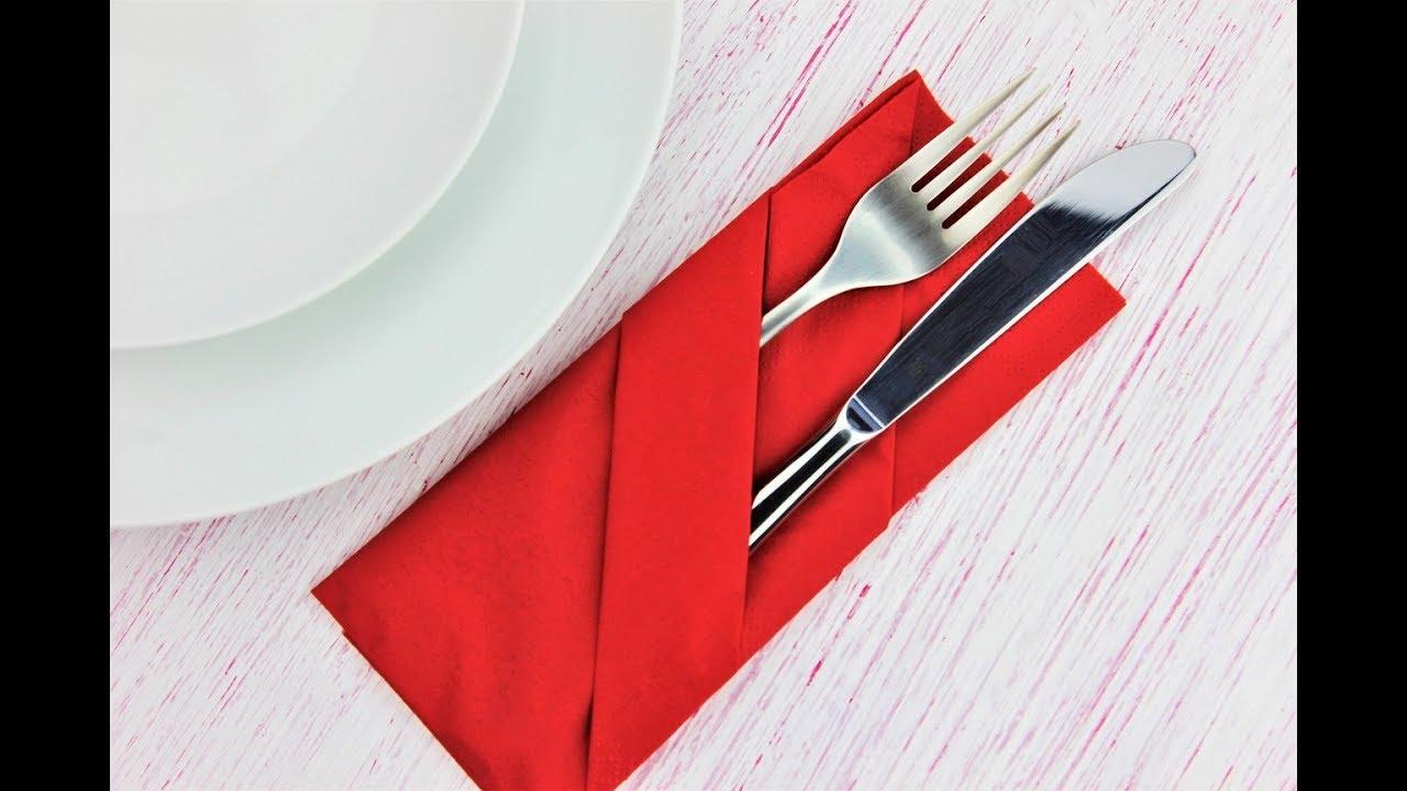 How To Fold Napkin Into A Pocket Easy Napkin Folding