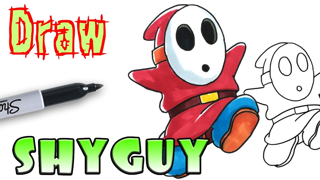 how to draw shy guy mario coloring pages youtube