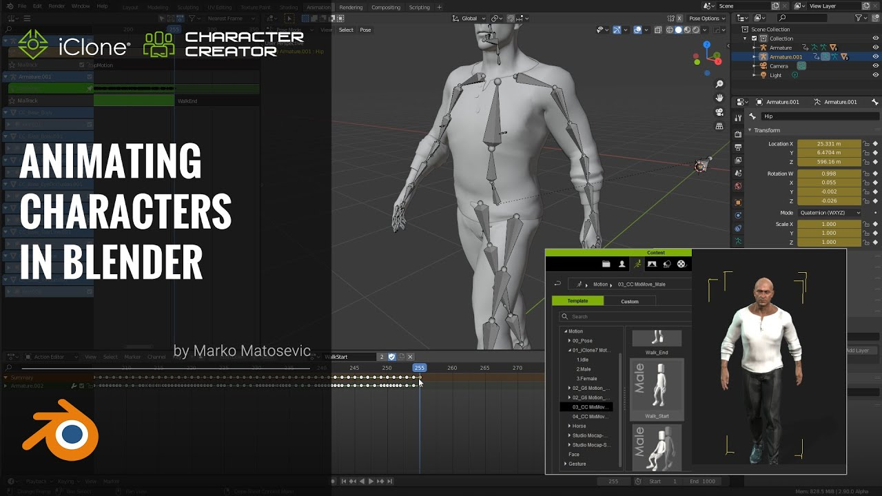 blender animation - animating characters in blender