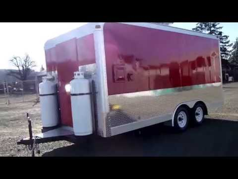 Red Catering Food Trailer Mobile Kitchen Double Axle