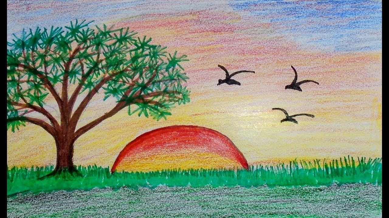 Sunset Drawing Scenery For Beginners Draw Scenery Sunset