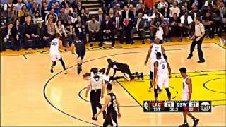 Draymond Green kicks Blake Griffin w/ natural recovery motion (clippers 2.23.17 paul pierce)
