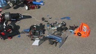 best rc car crash history ever fatal165 kmh 100 mph lipo brushless crash accident asso tc4 brutal