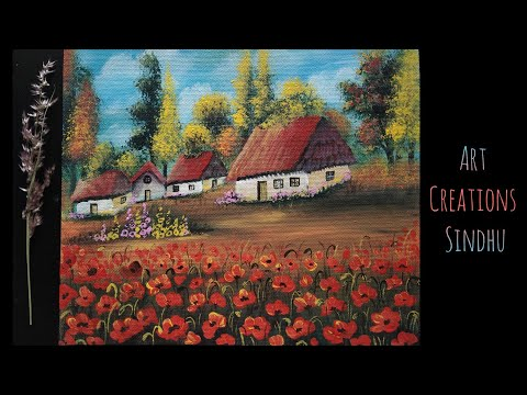 Easy Acrylic Poppy field Painting/How to Paint Village Scenery/Easy Landscape Painting for beginners