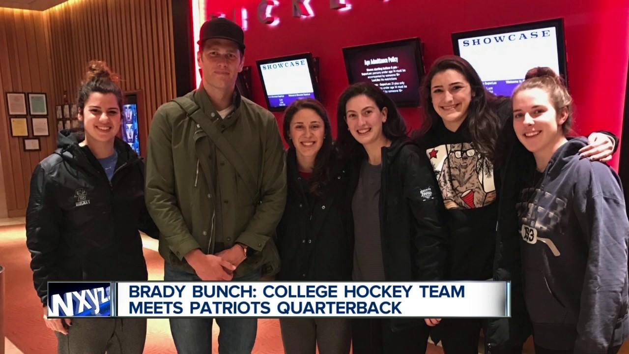 Farmington natives on Boston College hockey team meet Tom Brady at movies
