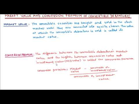 Market value and conversion premium of convertible debenture
