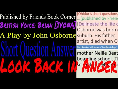 Look Back in Anger | Short Question Answer | Play by John Osborne