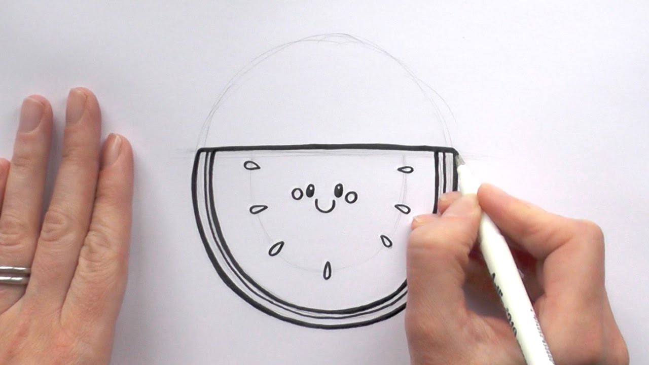 How To Draw A Cartoon Slice Of Watermelon Youtube