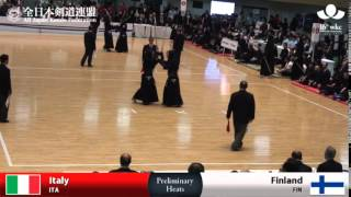 (ITA)Italy (5)3 - 1(1) Finland(FIN) - 16th World Kendo Championships - Men's Team